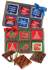 "CHRISTMAS/ HOLIDAY ""COOKIE TALK"" CHOCOLATE GRAHAMS  W/ MESSAGES  12 Pc GIFT BOX"