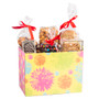 Yellow Floral Gift Basket Box of Gourmet Treats