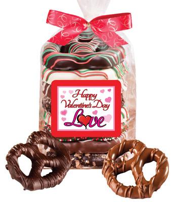 Valentine's Day Gourmet Chocolate Pretzel Bag - Love