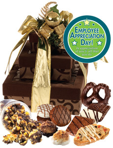 Employee Appreciation 3 Tier Tower of Treats - Brown & Gold