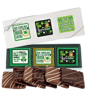 St Patrick's Day Cookie Talk 6pc Chocolate Graham Box