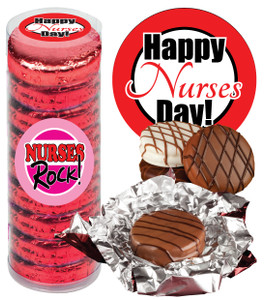 "NURSE APPRECIATION ""COOKIE TALK"" CHOCOLATE OREOS w/ MESSAGES  9 Pc. CYLINDER"