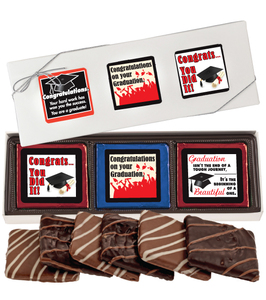 Graduation Cookie Talk 6pc Chocolate Graham Box