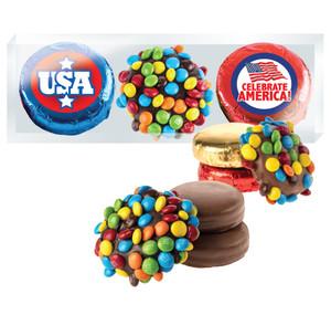 "Celebrate America ""Cookie Talk"" M&M & Chocolate Oreo Trio"