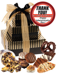 Admin/Office Staff Tiered Tower of Treats - Gold Striped
