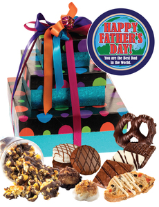 Father's Day 3 Tier Tower of Treats - Blue Dots
