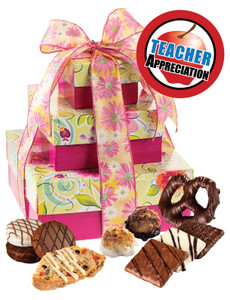 Teacher Appreciation 3 Tier Tower of Treats - Pink & Yellow