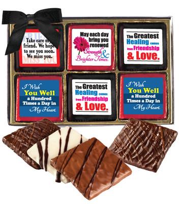 Get Well Cookie Talk 12pc Chocolate Graham Gift Box