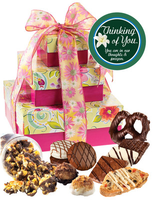 Thinking of You 3 Tier Tower of Treats - Pink & Yellow