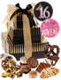 Sweet 16 Celebration 3 Tier Tower of Treats - Brown & Gold Stripes