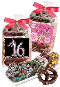Sweet 16 Chocolate Pretzel Bag