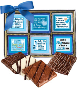 "Baby Boy ""Cookie Talk""-  12 Pc Chocolate Graham Gift Box"