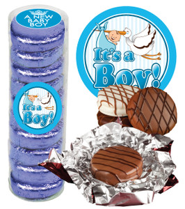 "BABY BOY  ""COOKIE TALK"" CHOCOLATE OREOS - 9 Pc.CYLINDER"