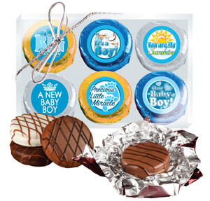 "Baby Boy ""Cookie Talk"" Chocolate Oreo 6pc Gift Box"