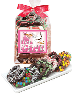 Baby Girl Chocolate Pretzel Bag