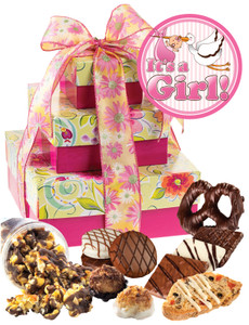 Baby Girl Tower of Treats - Pink & Yellow
