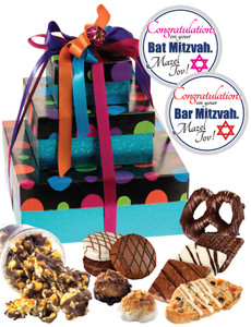 Bar/Bat Mitzvah 3 Tier Tower of Treats - Blue Dots