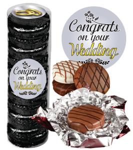 "WEDDING ""COOKIE TALK"" CHOCOLATE OREOS  9 PC.CYLINDER"