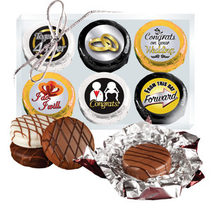 "Wedding ""Cookie Talk"" Chocolate Oreo 6 Pc  Box"