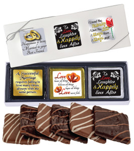 "WEDDING ""COOKIE TALK"" CHOCOLATE GRAHAM 6 PC GIFT BOX"