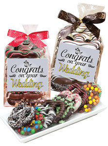 Wedding 8pc Gourmet Chocolate Pretzel Bag