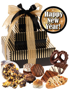 Happy New Year 3 Tier Tower of Treats - Brown & Gold Striped