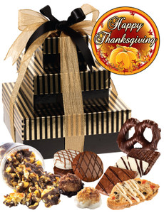 Thanksgiving 3 Tier Tower of Treats - Brown & Gold Stripes