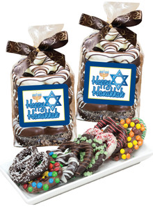 Hanukkah 8pc Gourmet Chocolate Pretzel Bag
