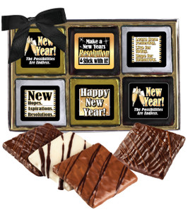 "Happy New Year ""Cookie Talk""-  12 Pc Chocolate Graham Gift Box"