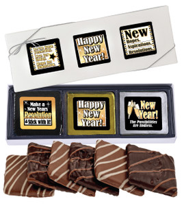 "Happy New Year ""Cookie Talk"" Chocolate Graham 6 Pc Gift Box"