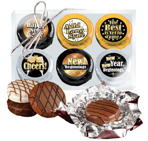 "Happy New Year  Cookie Talk"" Chocolate Oreo 6 Pc Gift Box"