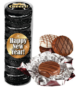 "HAPPY NEW YEAR ""COOKIE TALK"" CHOCOLATE OREOS  9 PC.CYLINDER"