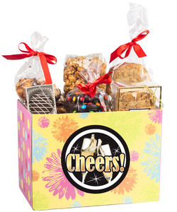 Happy New Year Gift Basket Box of Gourmet Treats - Yellow Flowers