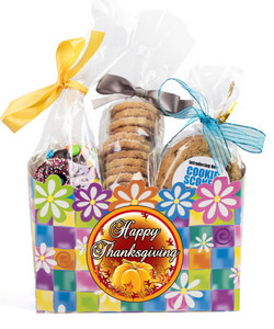 Thanksgiving Basket Box of Gourmet Treats - Blue Flowers