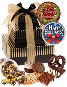 Christmas/Holiday Spectacular Tower of Treats - Brown & Gold Striped