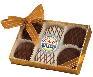 BAR/BAT MITZVAH CHOCOLATE DRIZZLED OREO 6 PK.