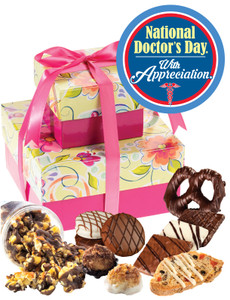 Doctor Appreciation Floral Two-Tiered Tower Of Treats