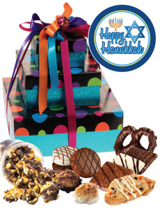 Hanukkah 3 Tier Tower of Treats - Blue Dots
