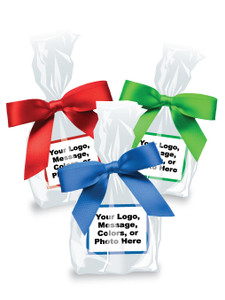 Favor Bags - Custom Label & Ribbon - Unfilled - Green, Red, and Blue