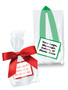 Favor Bags - Custom Label & Ribbon - Unfilled - Green & Red