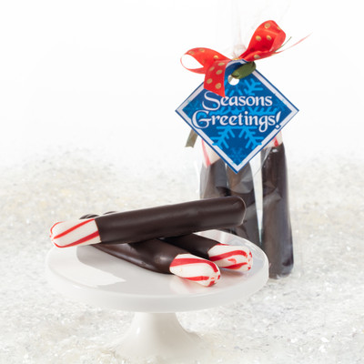 Chocolate Dipped Peppermint Softstix Favor Bag