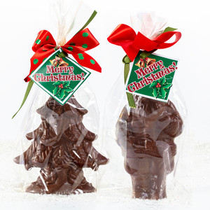 Solid Chocolate Santa & Christmas Tree Duo