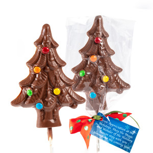 Solid Chocolate Christmas Tree Lollipop - Pack Of 6
