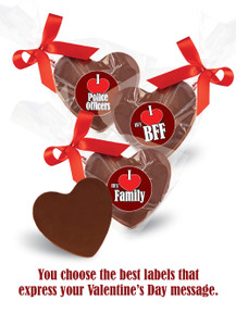 Solid Chocolate Heart In Bag w/Ribbon
