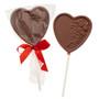 Chocolate Heart Lollipop In Bag w/Ribbon