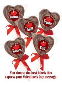 Solid Chocolate Heart Lollipop In Bag W/ Ribbon