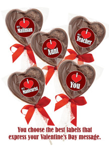 Solid Chocolate Heart Lollipop In Bag w/Ribbon