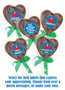 BUSINESS THEMED SOLID CHOCOLATE HEART LOLLIPOP in Bag w/ Ribbon