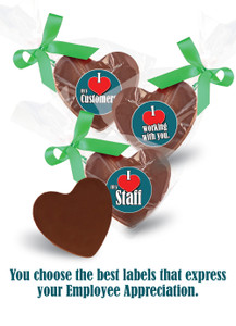 Employee Appreciation  Chocolate Hearts In Bag W/ Ribbon