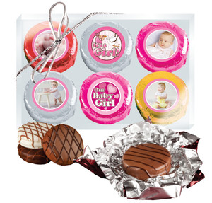 6pc Baby Girl Chocolate Oreo Custom Photo Cookie Box